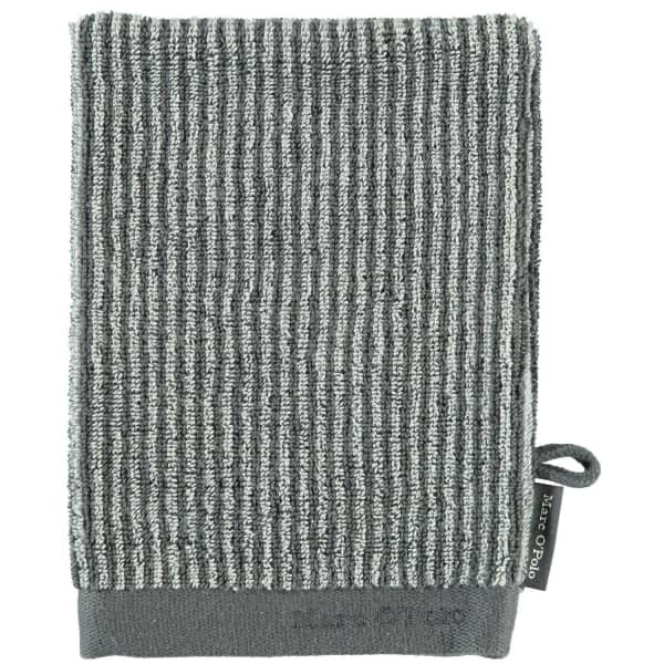 Marc o Polo Timeless Tone Stripe - Farbe: anthrazite/silver Waschhandschuh 16x21 cm