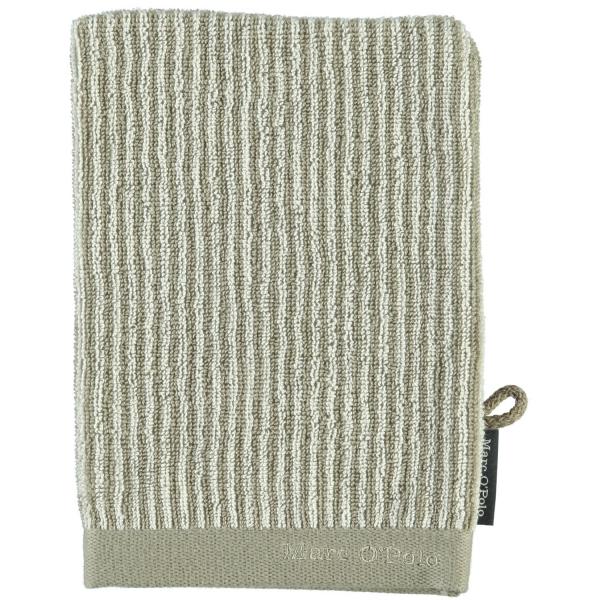 Marc o Polo Timeless Tone Stripe - Farbe: beige/ecru Waschhandschuh 16x21 cm