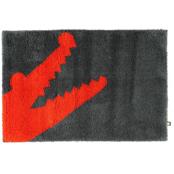 Rhomtuft - Badteppich Croc - Farbe: zink/zinnober - 1214