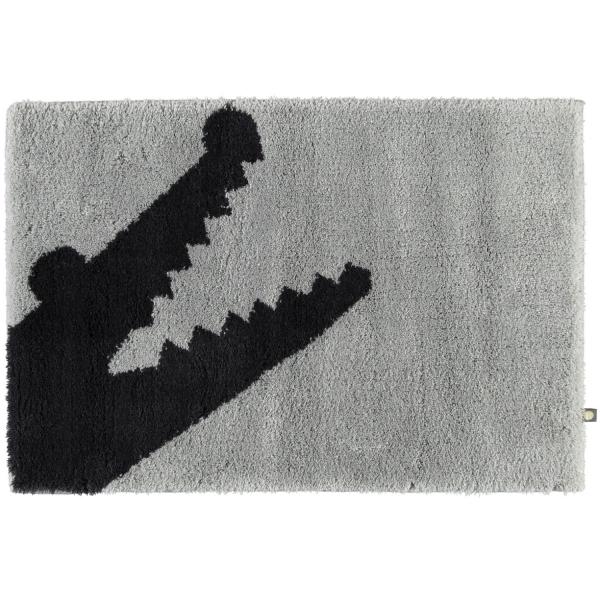 Rhomtuft - Badteppich Croc - Farbe: perlgrau/kaviar - 1212 70x130 cm